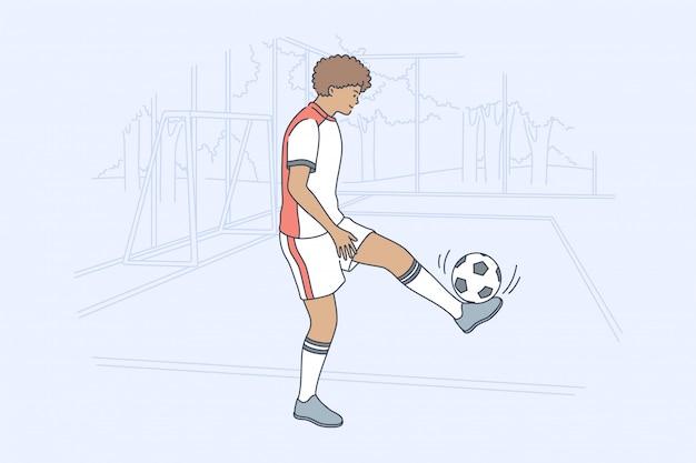 Concepto de actividad de fútbol de juego de entrenamiento deportivo