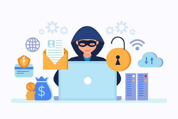Concepto de actividad hacker con hombre