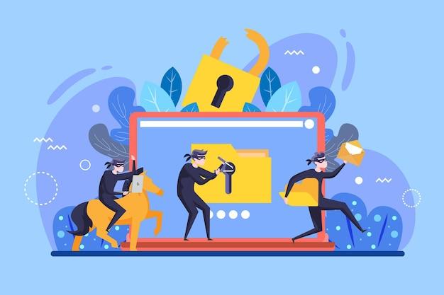 Concepto de actividad hacker con hombres y computadora portátil