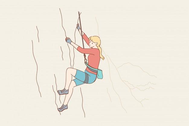 Concepto de actividad de peligro de aventura de turismo de montañismo deportivo