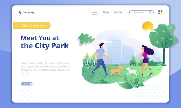 Concepto de actividades al aire libre, nos vemos en el parque de la ciudad en la plantilla de página de destino