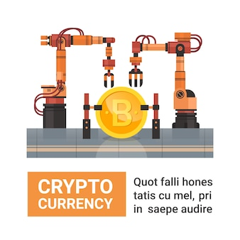Concepto de las actividades bancarias del dinero del web de la tecnología de producción de la moneda de la granja de la explotación minera de bitcoin
