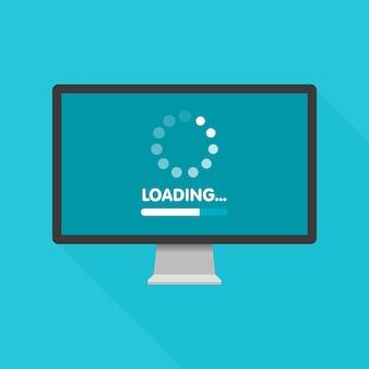 Concepto de actualización y actualización del software del sistema. proceso de carga en la pantalla del monitor. ilustración.