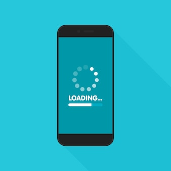 Concepto de actualización y actualización del software del sistema. proceso de carga en la pantalla del teléfono inteligente. ilustración.