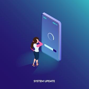 Concepto de actualización del sistema isométrico