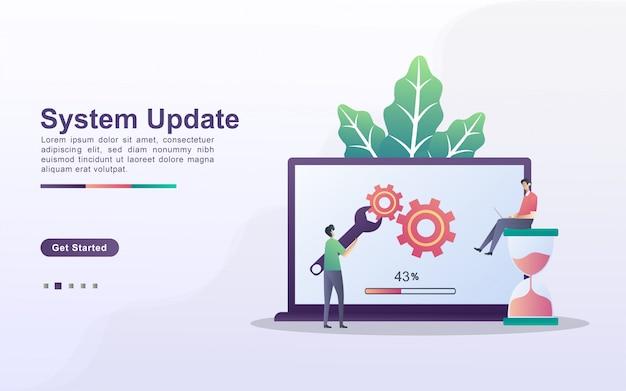 Concepto de actualización del sistema. el proceso de actualización a system update, reemplazando las versiones más nuevas e instalando programas. se puede usar para la página de destino web, banner, aplicación móvil.