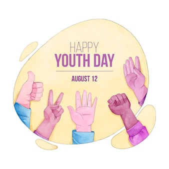 Concepto de acuarela día de la juventud