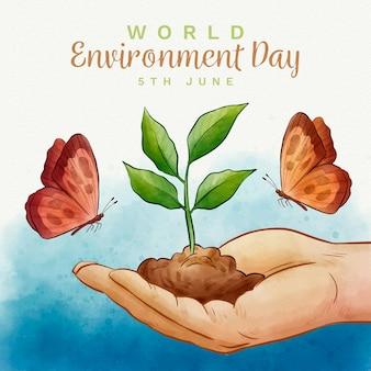 Concepto de acuarela del día mundial del medio ambiente