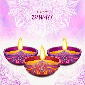 Concepto de acuarela diwali