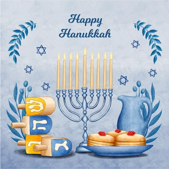Concepto de acuarela de hanukkah