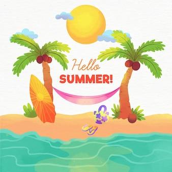 Concepto de acuarela hola verano
