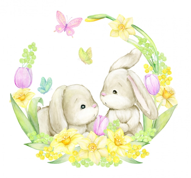 Concepto de acuarela, sobre un fondo aislado. lindos conejos, rodeados de mariposas, flores y hojas. .