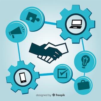 Concepto de acuerdo de negocios en diseño plano