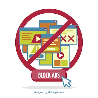 Concepto de ad block con diseño plano