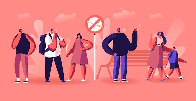 Concepto de adicción al tabaquismo. la gente fuma cigarrillos en un lugar público cerca de señales prohibidas en el parque. ilustración plana de dibujos animados