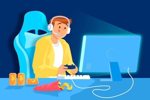 Concepto de adicción a los juegos en línea