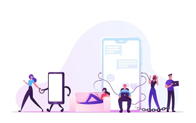 Concepto de adicción a las redes sociales. ilustración plana de dibujos animados