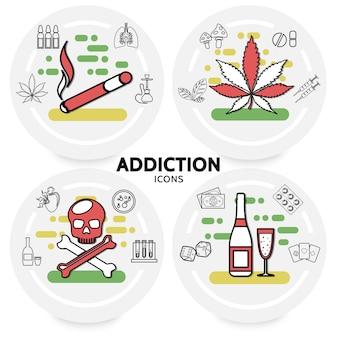 Concepto de adicciones nocivas con cigarrillos marihuana deja pulmones enfermos cachimba cráneo alcohol dinero dados