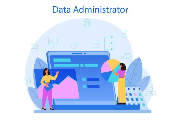 Concepto de administrador de base de datos. personaje femenino y masculino que trabaja en el centro de datos. tecnología informática moderna, idea de profesión de ti. ilustración de vector aislado