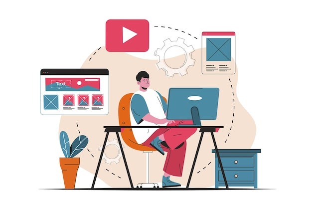 Concepto de administrador de contenido aislado. creación de contenido para rellenar el diseño del sitio. escena de personas en diseño plano de dibujos animados. ilustración vectorial para blogs, sitios web, aplicaciones móviles, materiales promocionales.