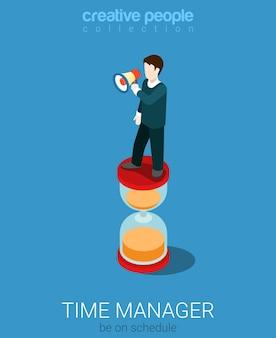 Concepto de administrador de gestión del tiempo isométrico plano