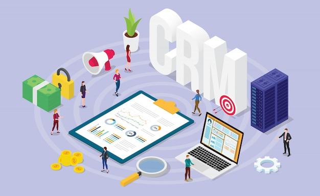 Concepto de administrador de relaciones con clientes de crm con personas del equipo y datos de administración financiera