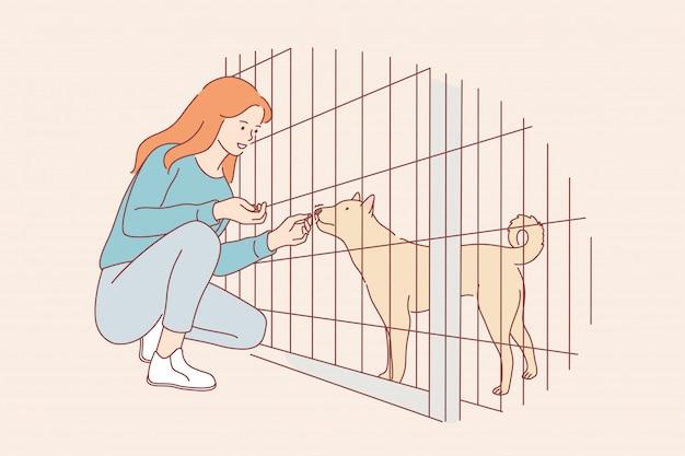 Concepto de adopción de voluntariado cuidado amor afecto