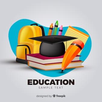 Concepto adorable de educación con diseño realista