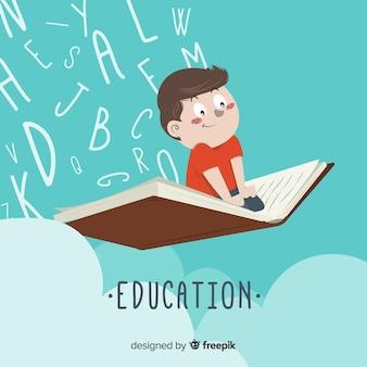 Concepto adorable de educación dibujado a mano