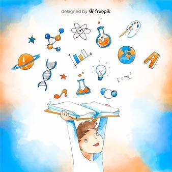Concepto adorable de educación en acuarela