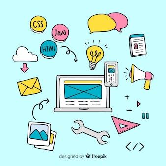 Concepto adorable de diseño web dibujado a mano