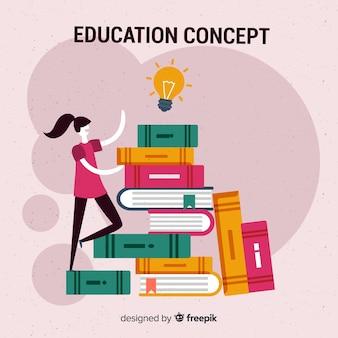 Concepto adorable de educación con diseño plano
