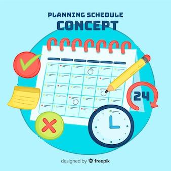 Concepto adorable de organización de horario dibujado a mano