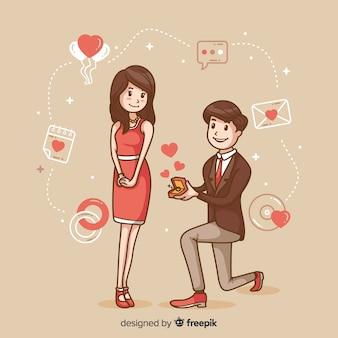 Concepto adorable de proposición de matrimonio dibujado a mano