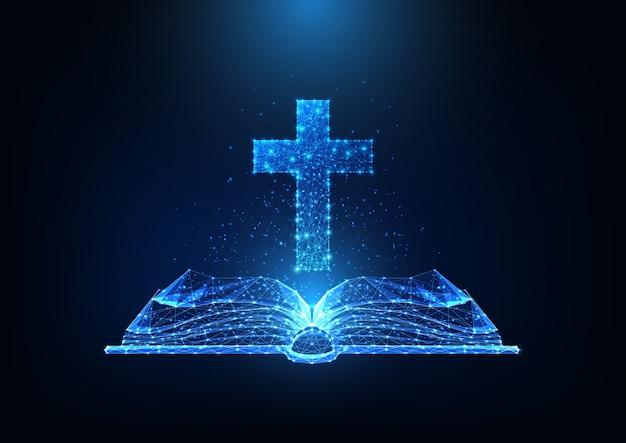 Concepto de adoración del cristianismo futurista con biblia abierta poligonal baja brillante y cruz cristiana sobre fondo azul oscuro. malla de estructura metálica moderna