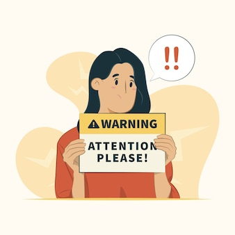 Concepto de advertencia aislado en blanco