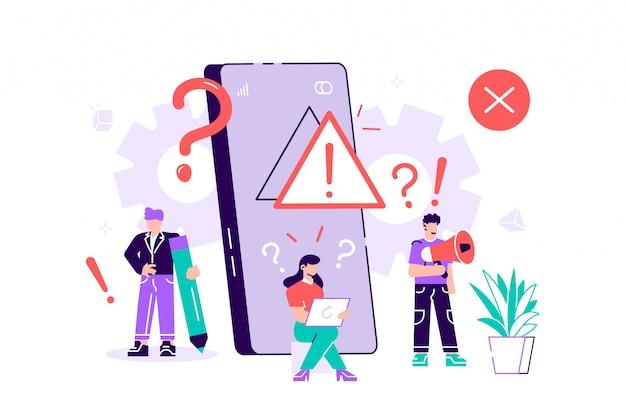 Concepto de advertencia de error del sistema operativo. ilustración de vector de página web de error 404, sistema operativo de ventana de advertencia de error.