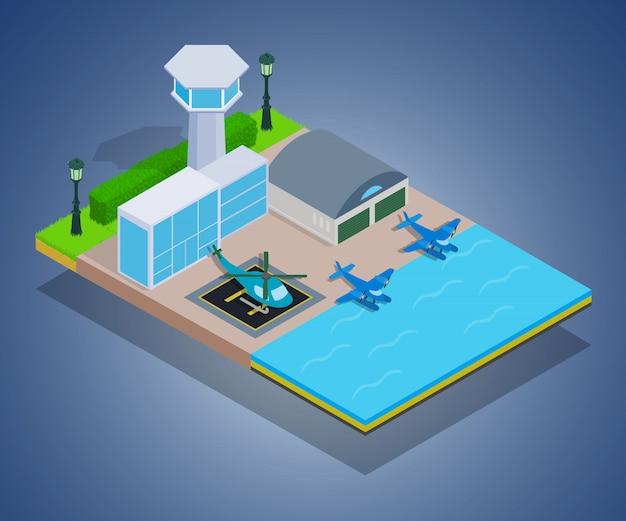 Concepto de aeropuerto de agua