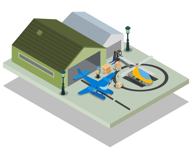 Concepto de aeropuerto privado escena