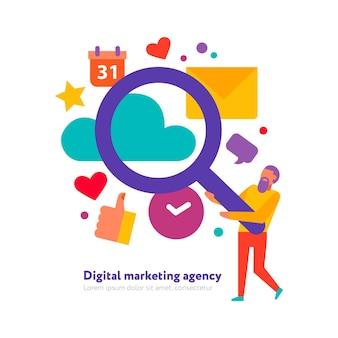 Concepto de agencia de marketing digital