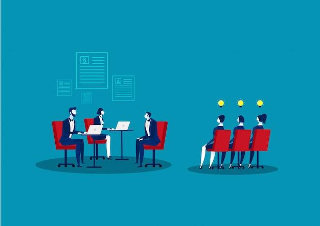 Concepto de agencia de recursos humanos. recursos humanos. búsqueda y selección de candidatos. entrevista de trabajo y reclutamiento. ilustración.