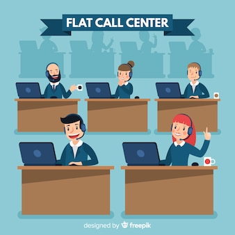 Concepto de agente de call center en diseño flat