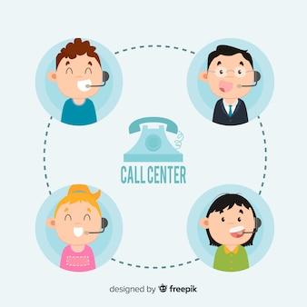 Concepto de agente de call center