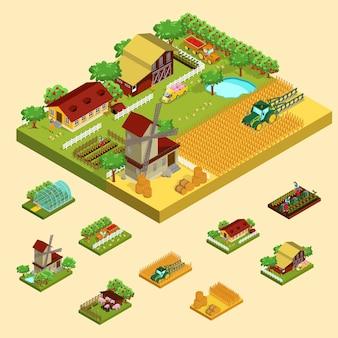 Concepto agrícola isométrico