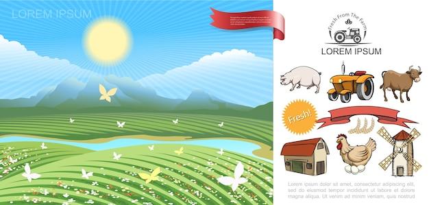 Concepto de agricultura colorido
