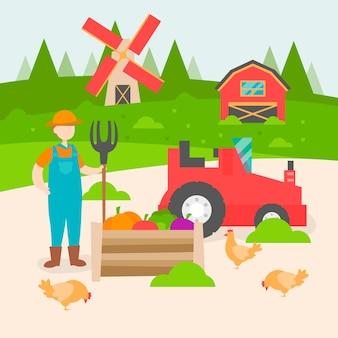 Concepto de agricultura ecológica con agricultor