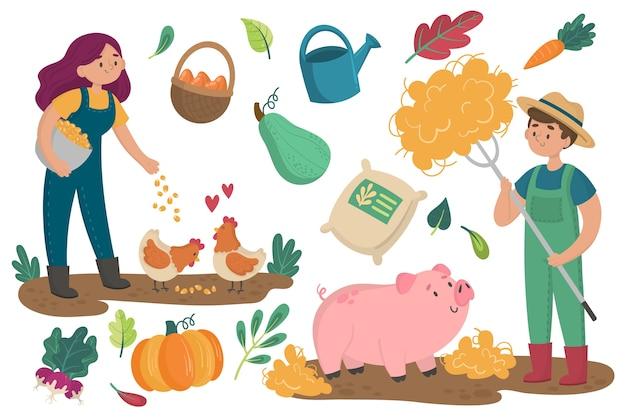 Concepto de agricultura ecológica con animales y plantas.