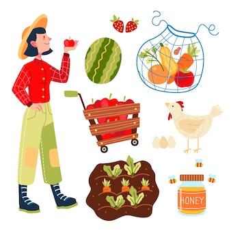 Concepto de agricultura ecológica con frutas y verduras.