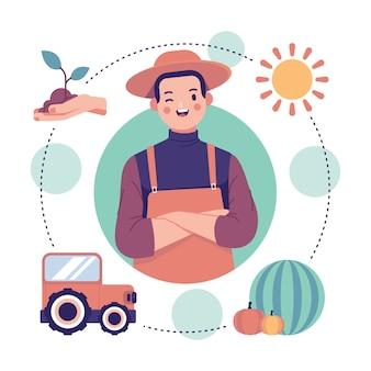 Concepto de agricultura ecológica con hombre guiñando un ojo