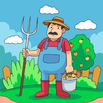 Concepto de agricultura ecológica con hombre y manzanas
